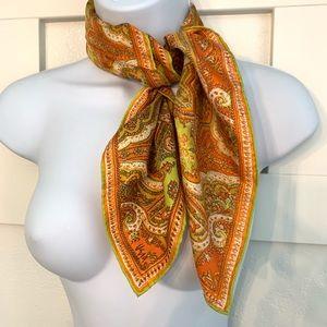 Vintage Vera Neumann Orange 60s 70s Silk Scarf